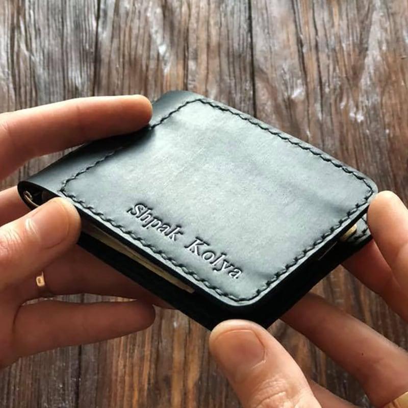 Шкіряний затиск для купюр Nominal Black Leather