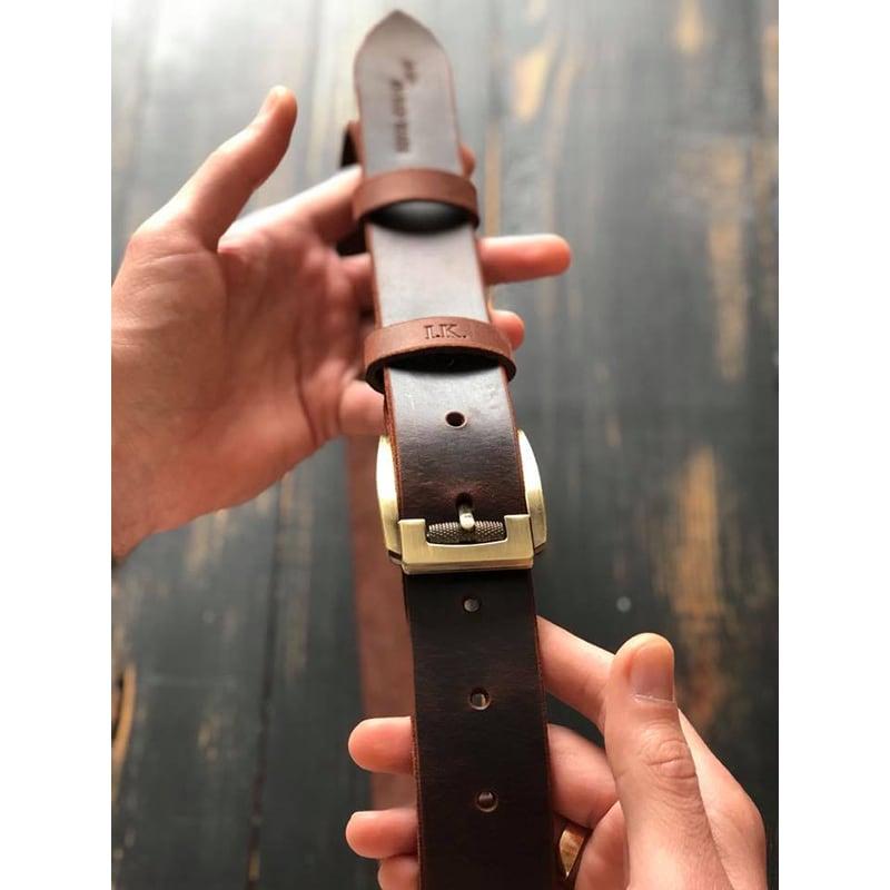 Шкіряний ремінь Belt Wild Wind brown leather