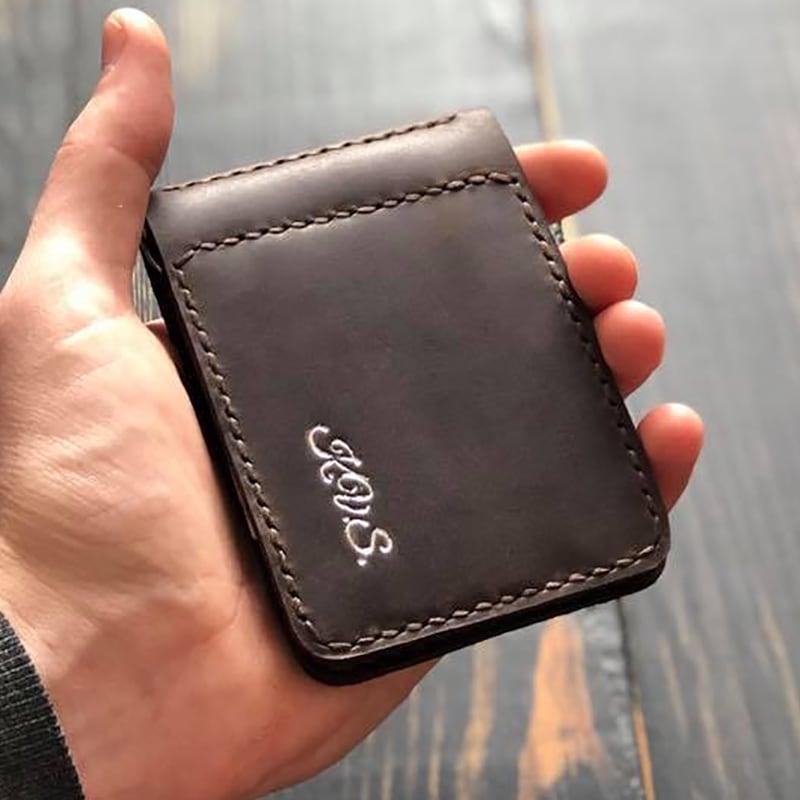 Шкіряний зажим для грошей Monogram brown leather
