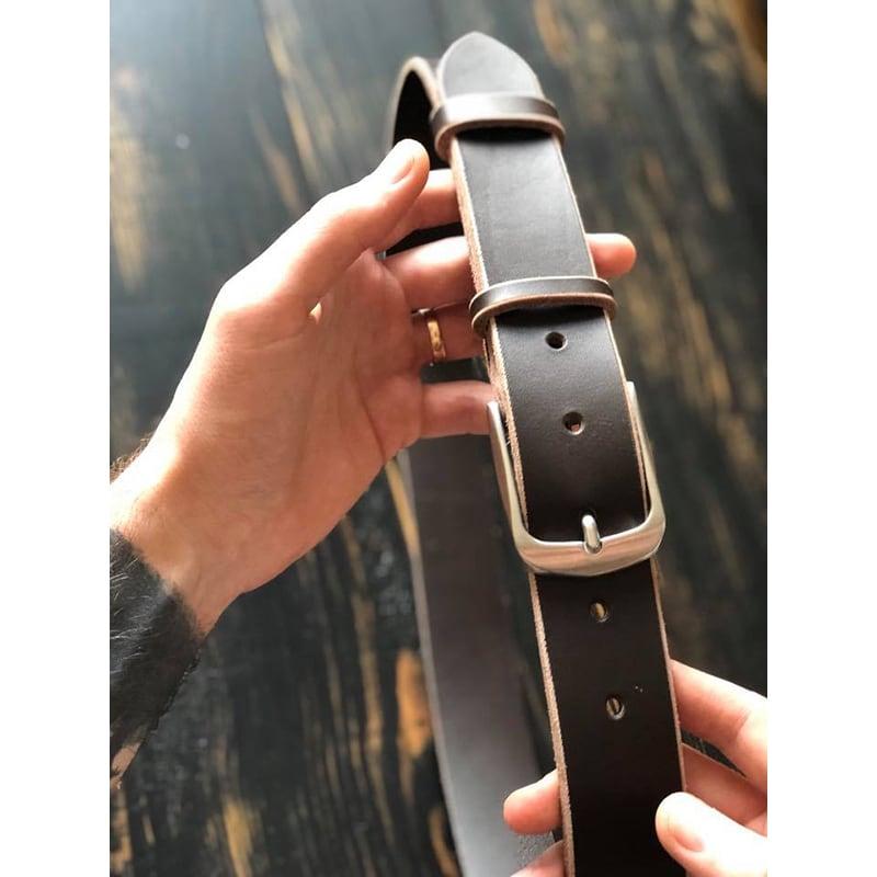 Шкіряний ремінь Belt Contrast brown leather