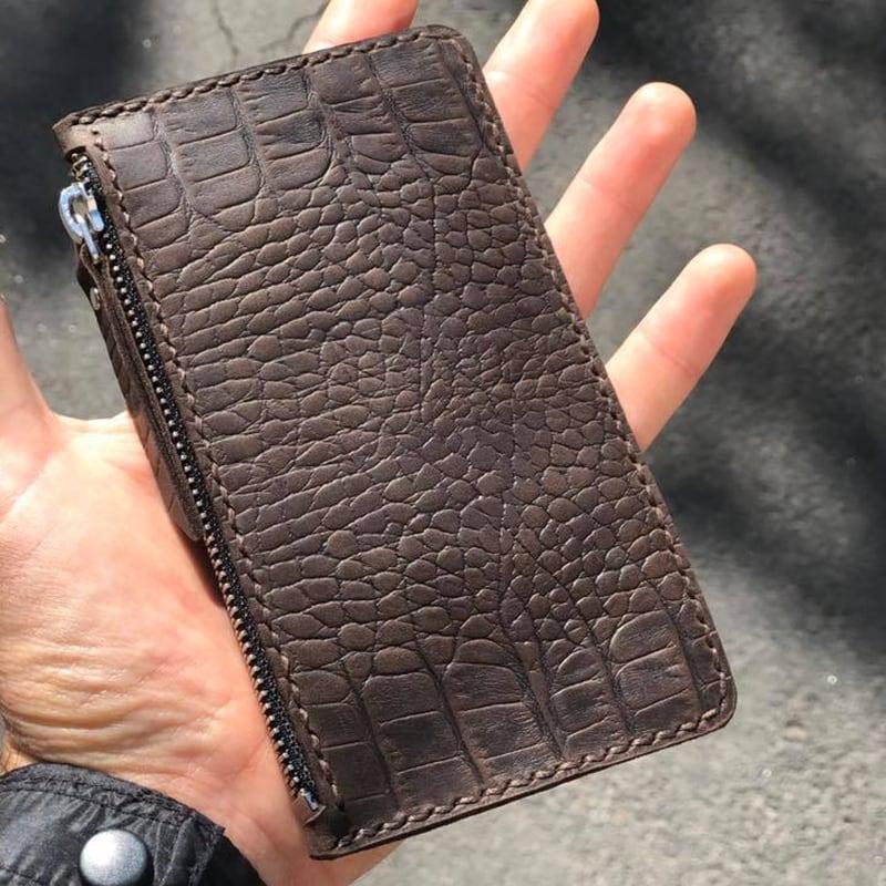 Шкіряний картхолдер Aligator brown leather