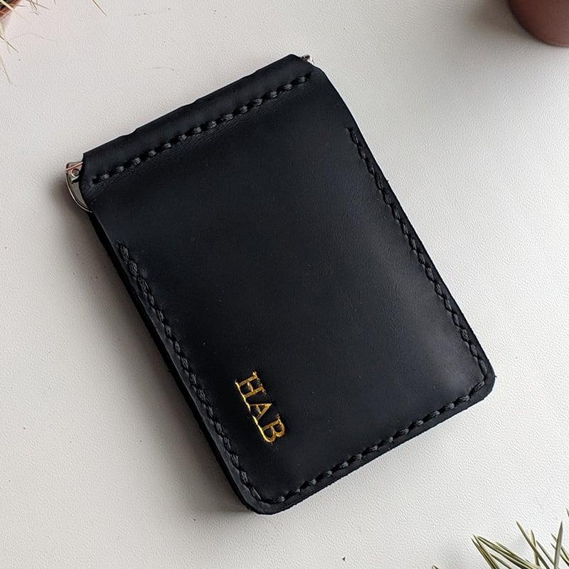 Кожаный зажим для денег Safe black leather