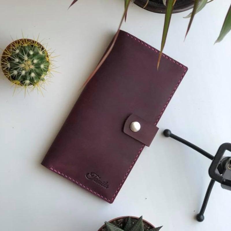 Шкіряне портмоне Purse Мultipurpose burgundy leather