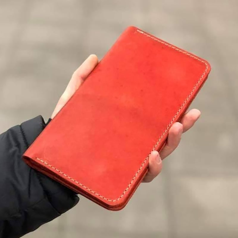 Шкіряне жіноче портмоне Purse Coral red leather