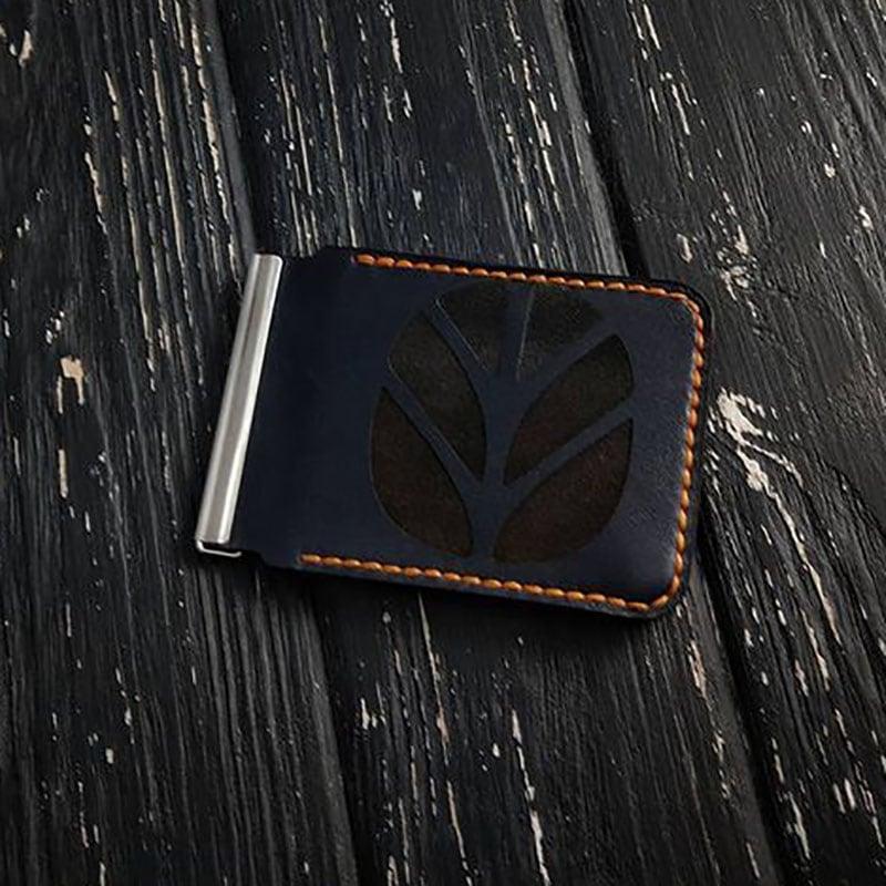Кожаный зажим для купюр Wallet Сreator black leather