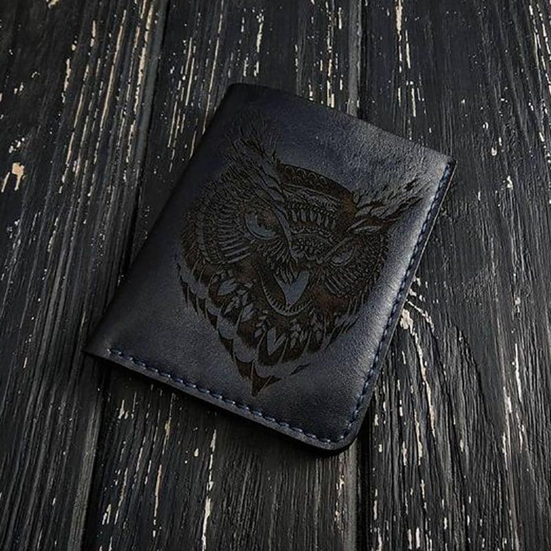 Шкіряне портмоне Wallet Owl black leather