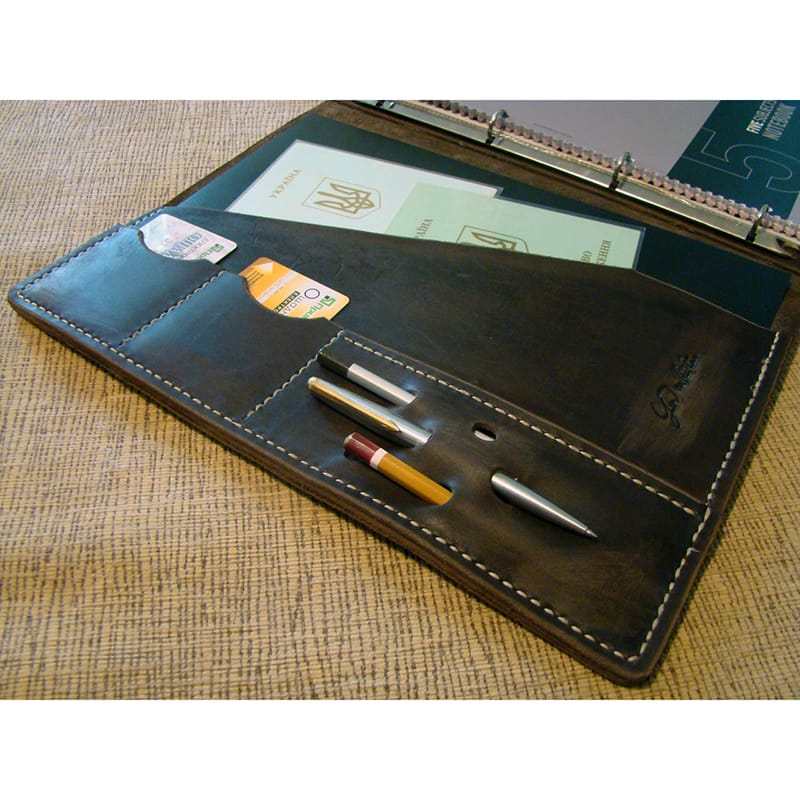 Шкіряна дизайнерська папка Vintage black leather