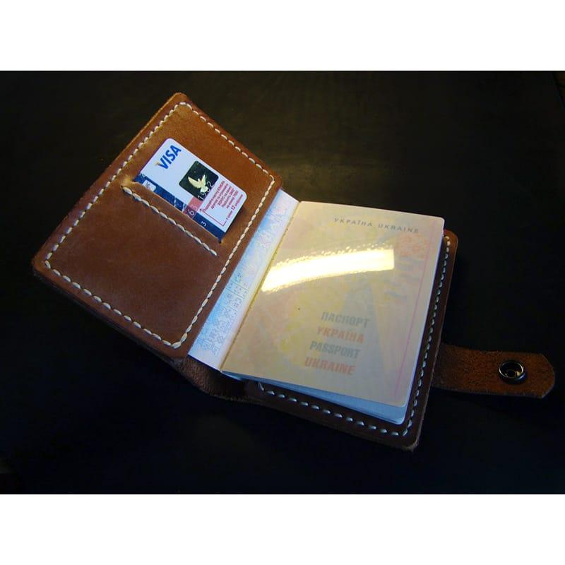 Handmade кожаная обложка на паспорт Passport Jacket brown leather