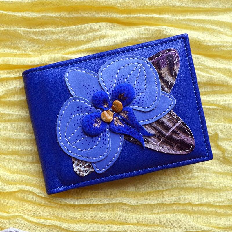 Кожаная визитница женская BLUE ORCHID blue leather