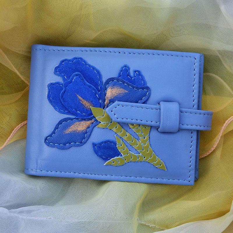 Визитница женская в подарок IRIS sky-blue leather