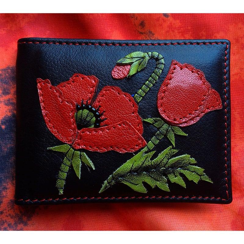 Жіноча візитниця в подарунок RED POPPY black leather