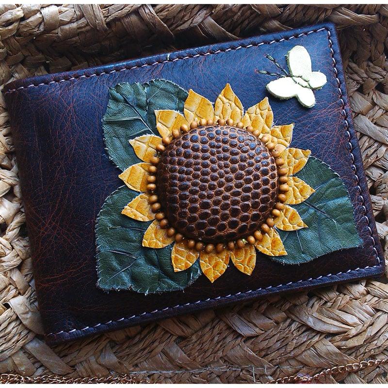 Женская визитница кожаная SUNFLOWER brown leather