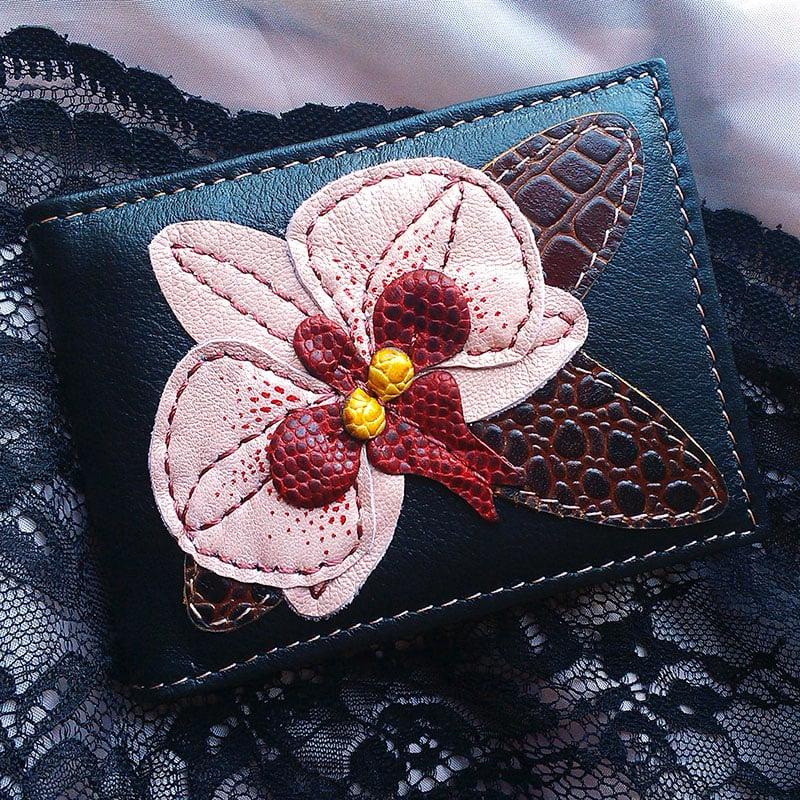 Дизайнерская визитница в подарок PINK ORCHID black leather