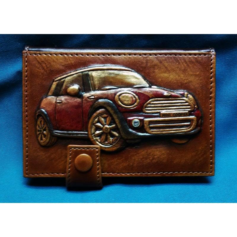 Кожаная обложка для прав на авто в подарок MINI COOPER