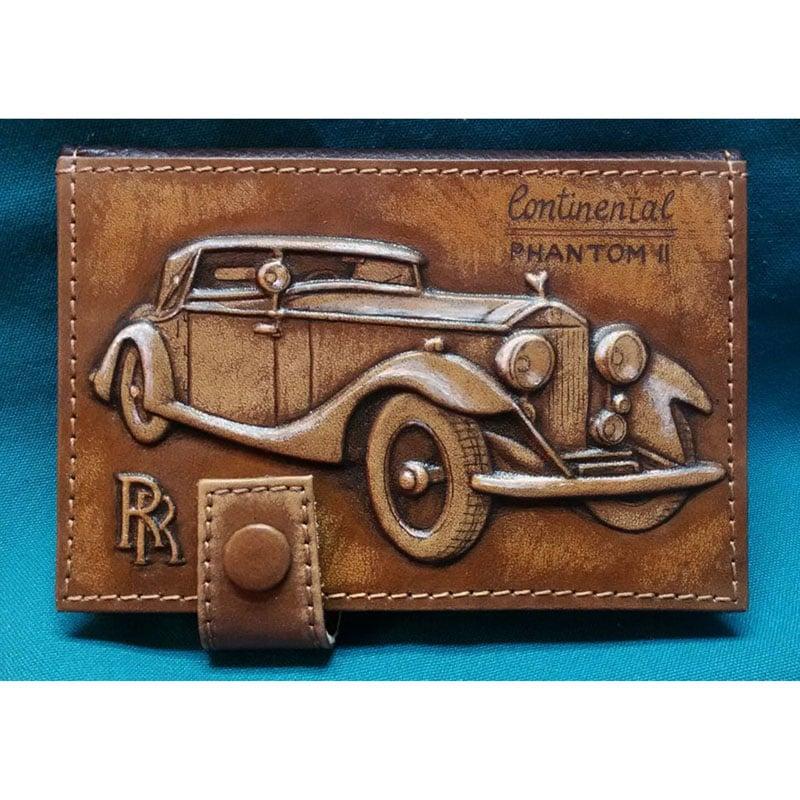 Кожаная обложка на права водителю в подарок Rolls-Royce