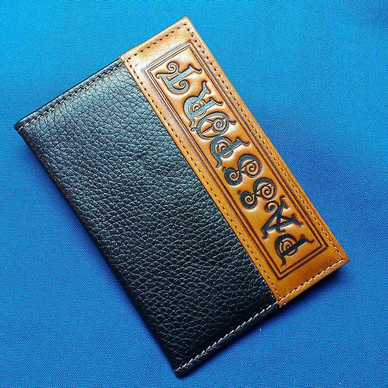 Авторская обложка на паспорт Passport Blue leather