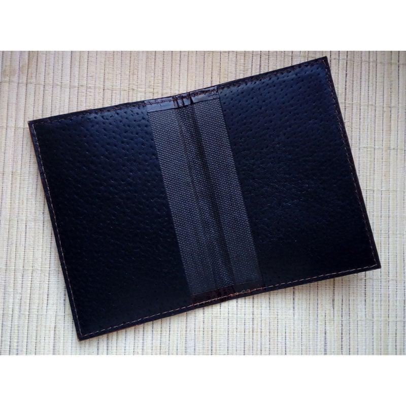 Кожаная обложка Handmade на паспорт Passport Black leather