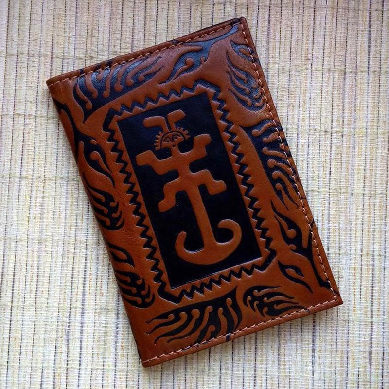 Шкіряна обкладинка ручної роботи в подарунок на паспорт Якір