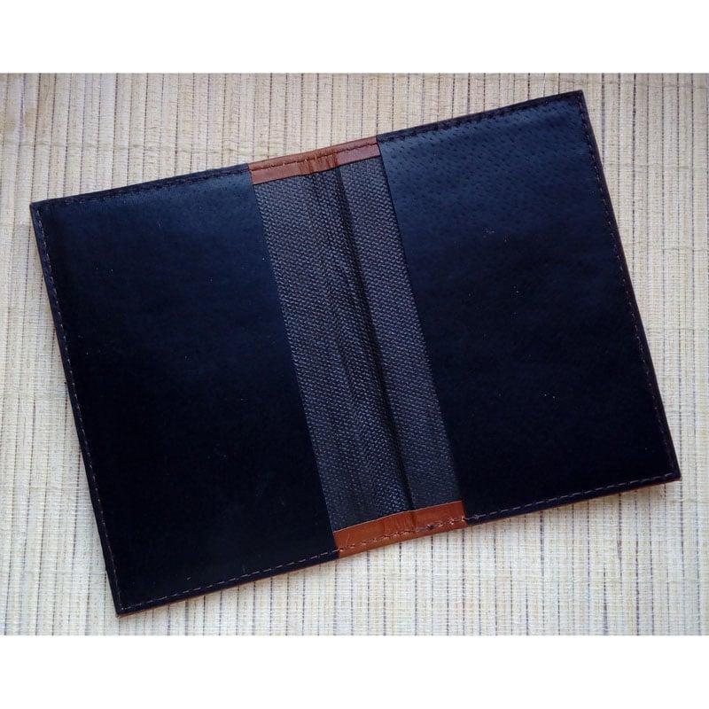 Кожаная обложка ручной работы в подарок на паспорт Якорь