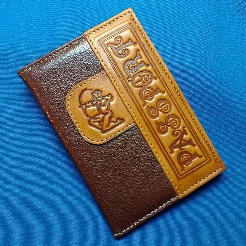 Обложка на паспорт кожаная Handmade Зодиак Стрелец