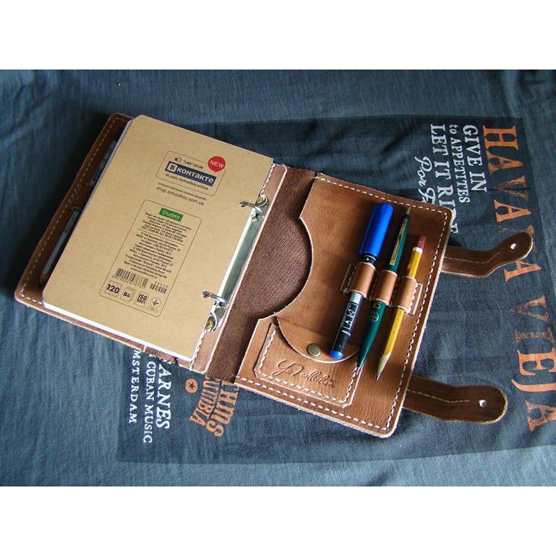 Хэнд мейд кожаный блокнот USA brown leather