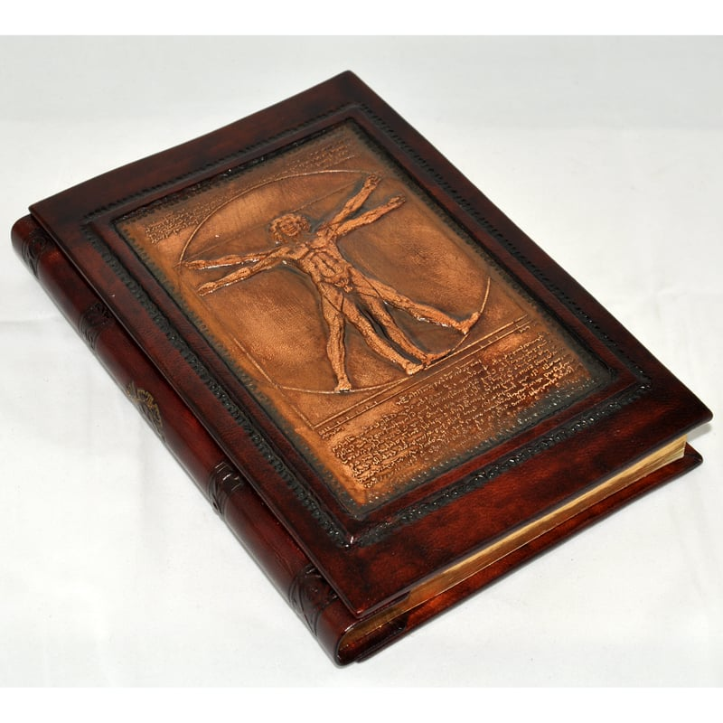 Записная книга Florentia Vitruvian Men brown leather