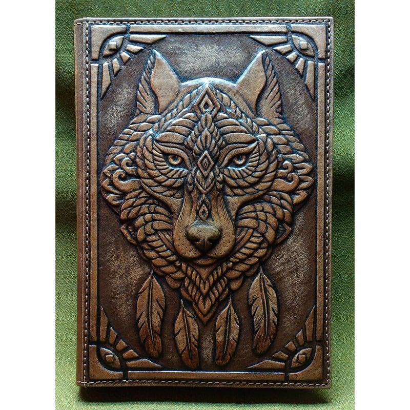 Кожаный ежедневник SPIRIT OF WOLF brown leather