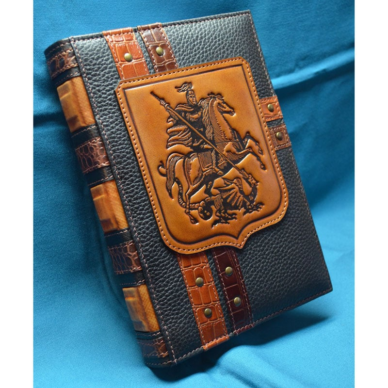 Блокнот мужской в кожаной обложке ST. GEORGE THE VICTORIOUS brown leather