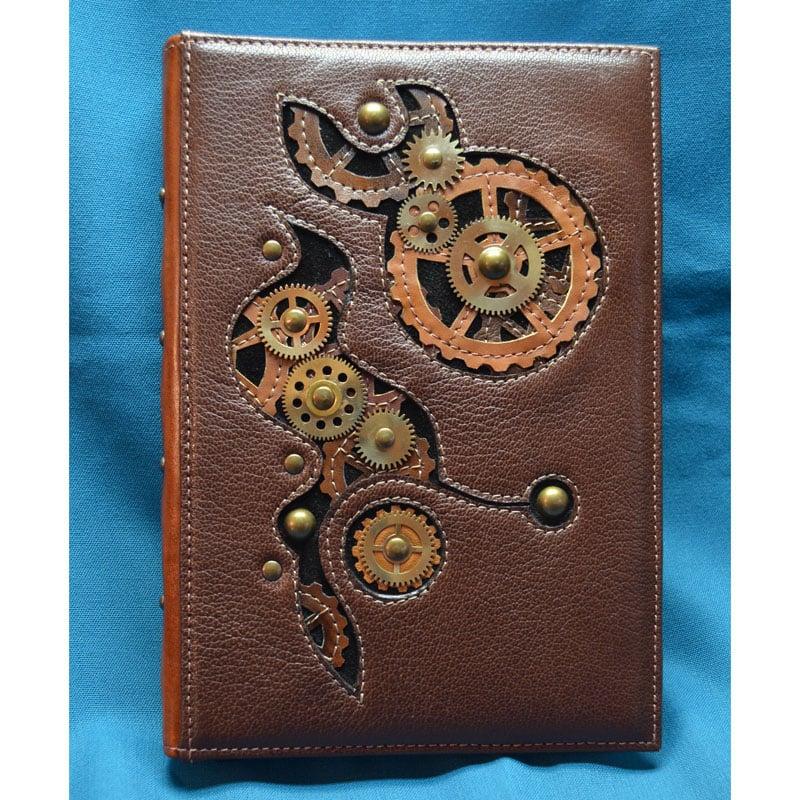 Авторский ежедневник в подарок STEAMPUNK brown leather