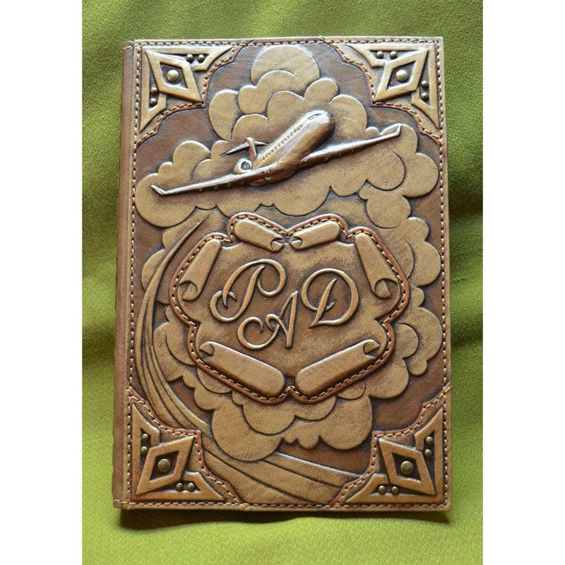Кожаный блокнот AIRPLANE brown leather