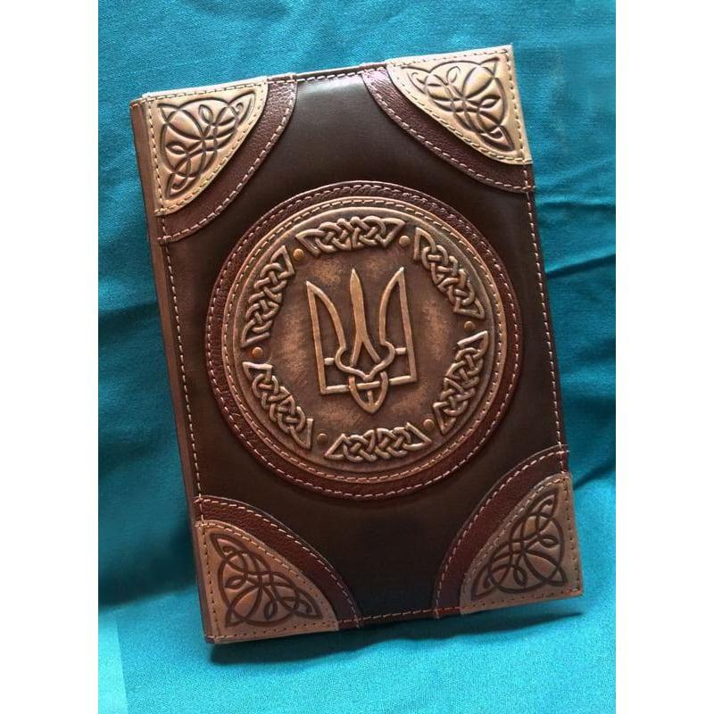 Блокнот чоловічий в шкіряній палітурці Тризуб brown leather