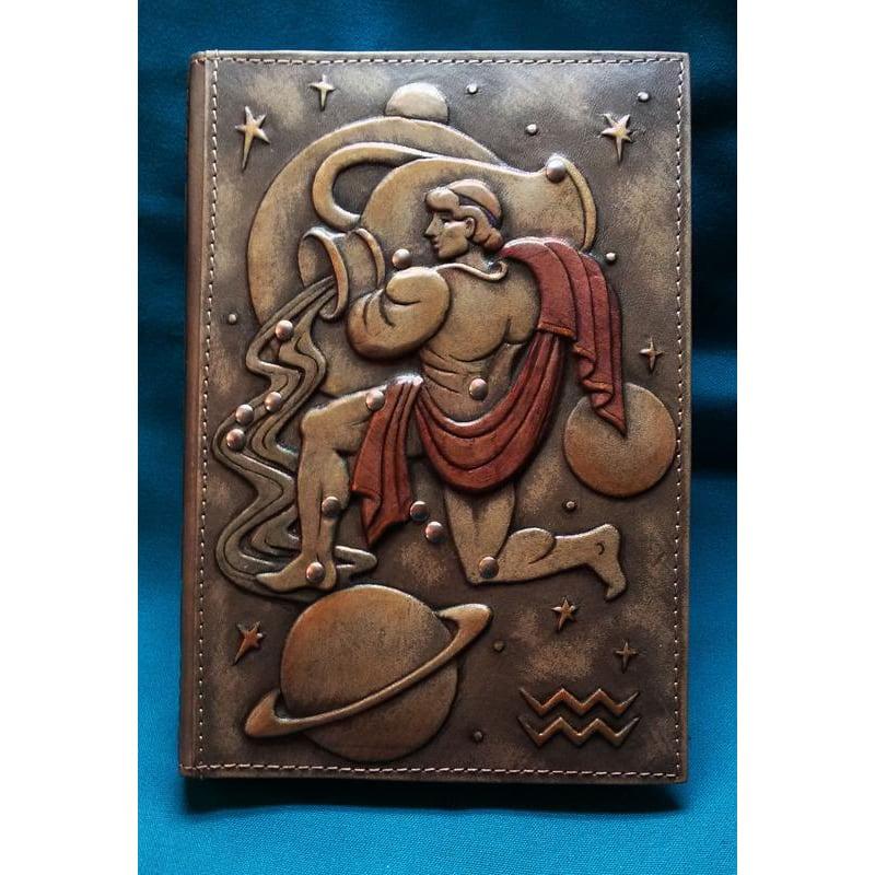 Блокнот шкіряний ручної роботи Aquarius brown leather