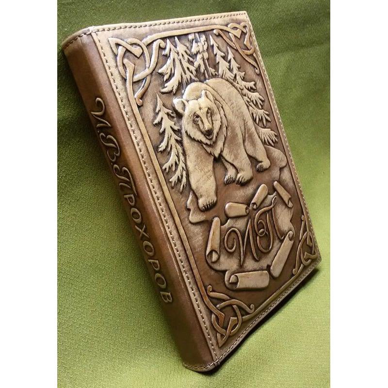 Кожаный авторский ежедневник Гризли brown leather