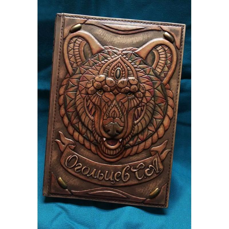 Ежедневник в кожаной обложке Знак Медведя brown leather
