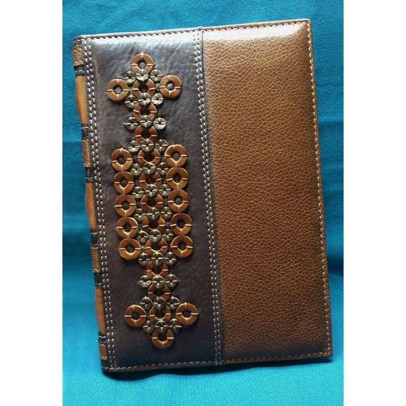 Блокнот мужской в кожаной обложке Ring Pattern brown leather