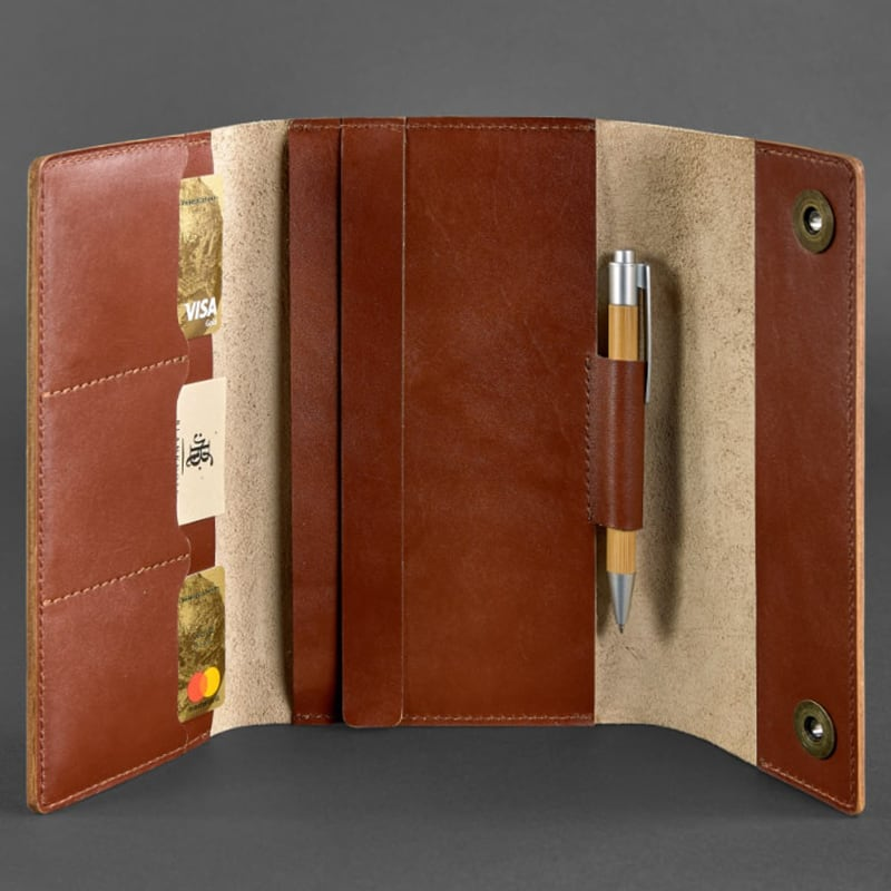 Кожаный блокнот Soft Book Cognac brown leather