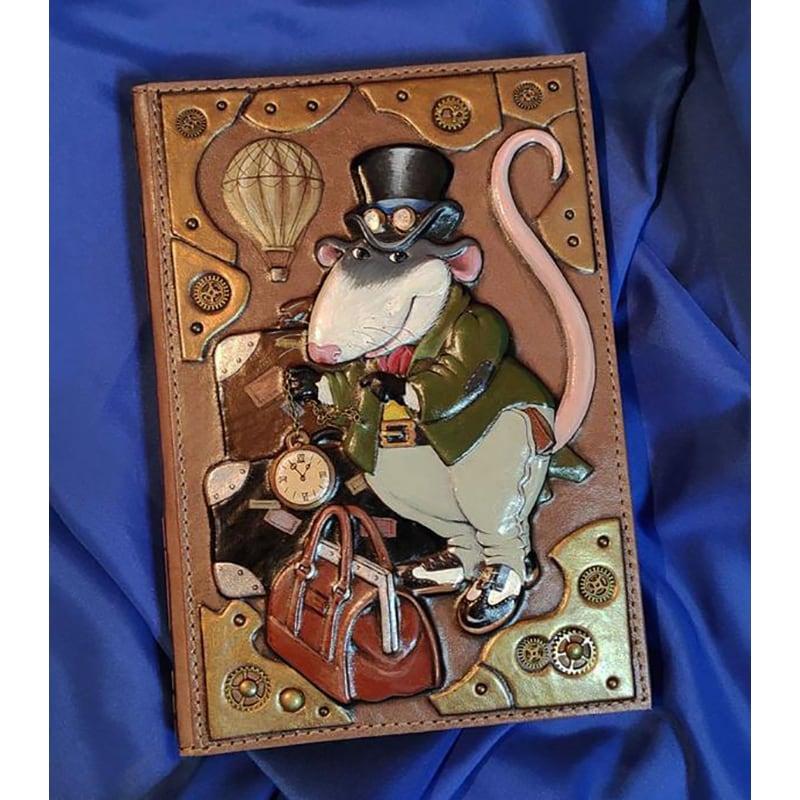 Блокнот в кожаной обложке Крыса Стимпанк brown leather