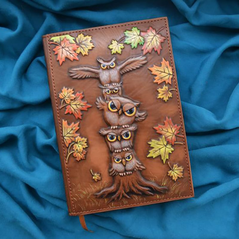 Блокнот в шкіряній обкладинці Тотем Сови brown leather