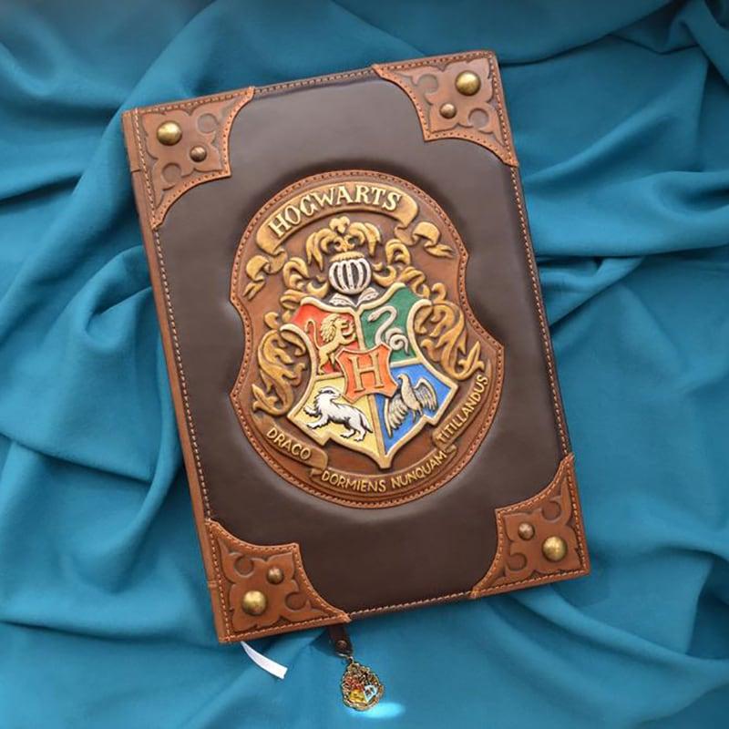 Дизайнерський шкіряний блокнот Хогварс brown leather