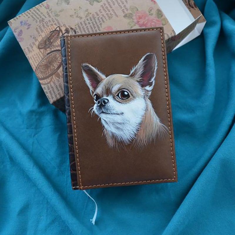 Блокнот в кожаном переплете Chihuahua brown leather
