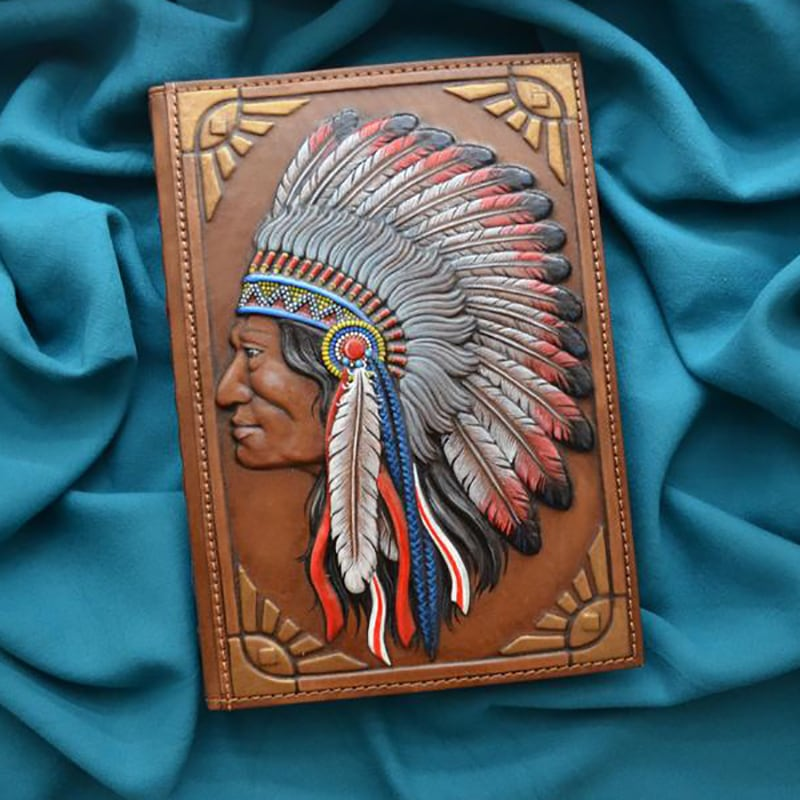 Кожаный блокнот Red Indian brown leather