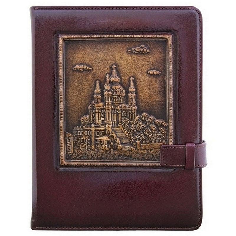 Блокнот в шкіряній палітурці Андріївська Церква brown leather