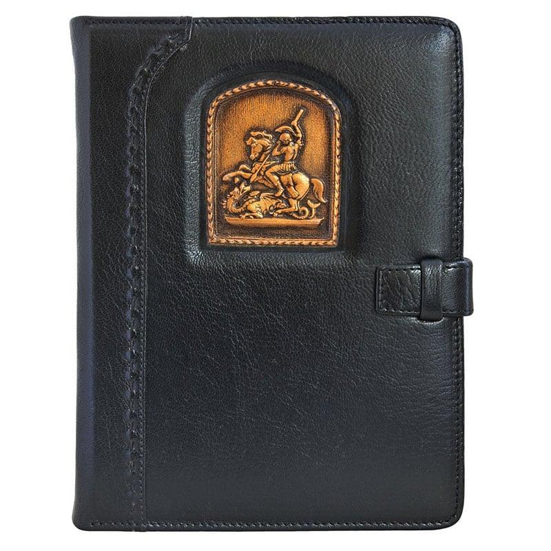 Кожаный блокнот Святой Георгий Победоносец black leather
