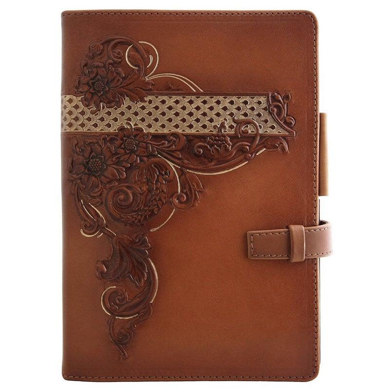 Блокнот в шкіряній обкладинці Floral Pattern brown leather