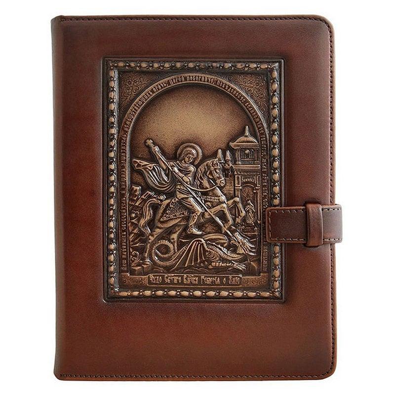 Щоденник в шкіряній палітурці Святий Георгій Побідоносець brown leather