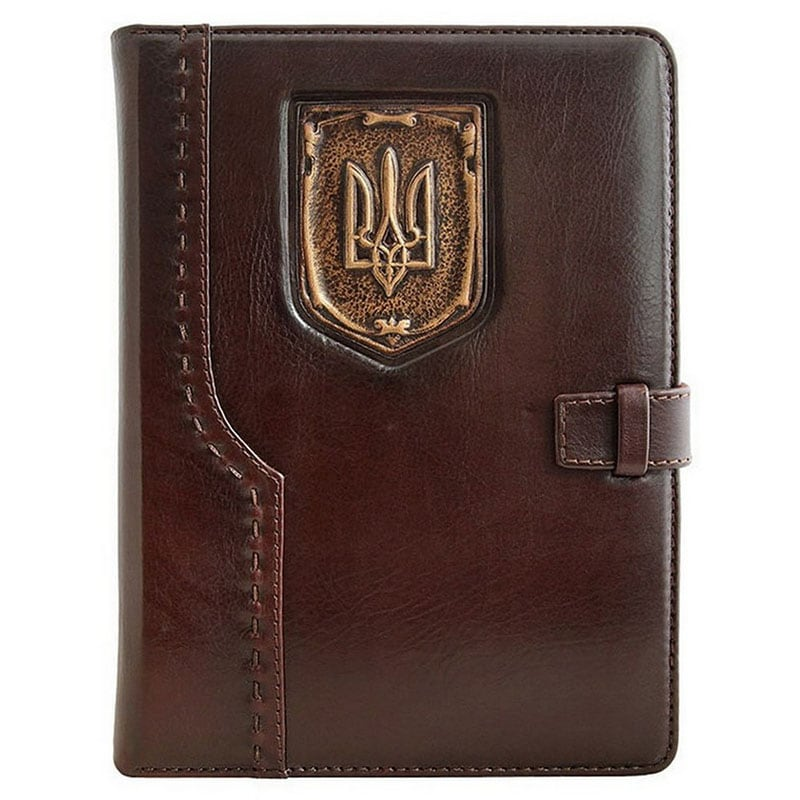 Шкіряний блокнот Герб України brown leather
