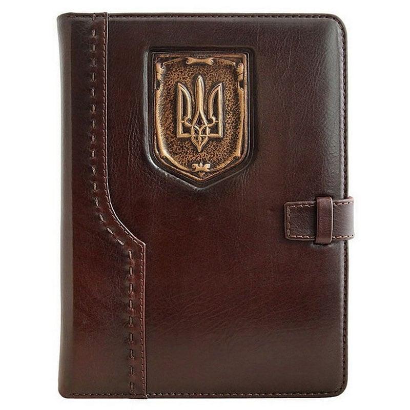 Кожаный блокнот Герб Украины brown leather