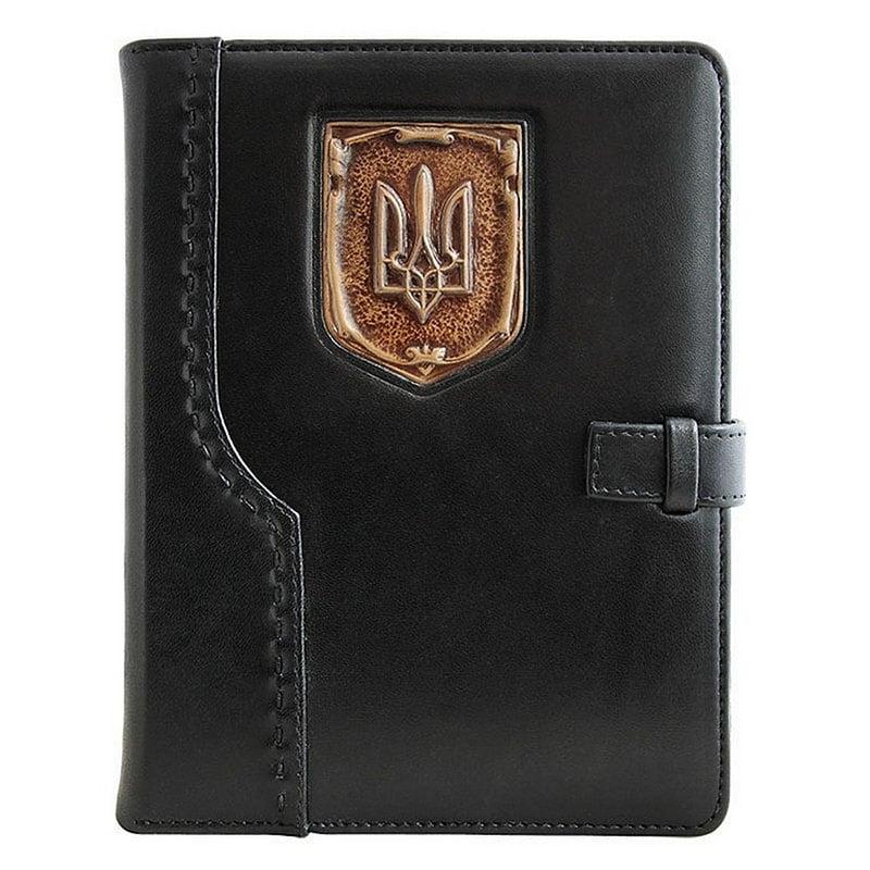 Ежедневник в кожаной обложке Герб Украины black leather