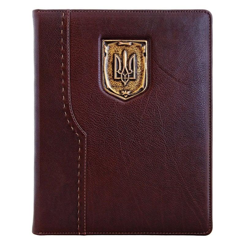 Блокнот в кожаной обложке Герб Украины burgundy leather