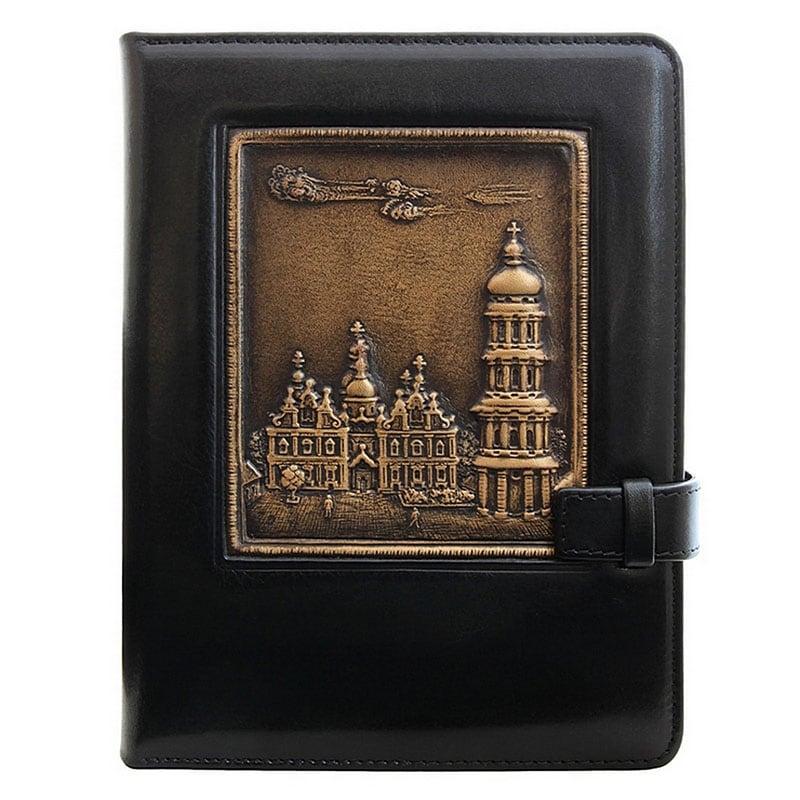 Кожаный блокнот Киево-Печерская Лавра black leather